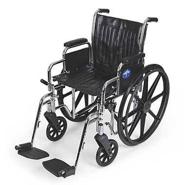 Medline Excel Extra-Wide Swing Away Foot Carbon Steel Wheelchairs