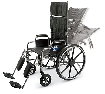 """""Medline Excel Reclining 20"""""""" Carbon Steel Wheelchairs"""""" 111840"