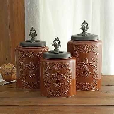 Design Guild 3 Piece Kitchen Canister Set; Antique Brown