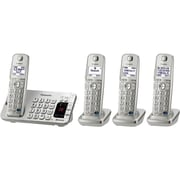 Panasonic KX-TGE274S Single Line Cordless Bluetooth Enabled Phone with 4-Handset, Silver