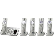 Panasonic KX-TGE275S Single Line Cordless Bluetooth Enabled Phone with 5-Handset, Silver