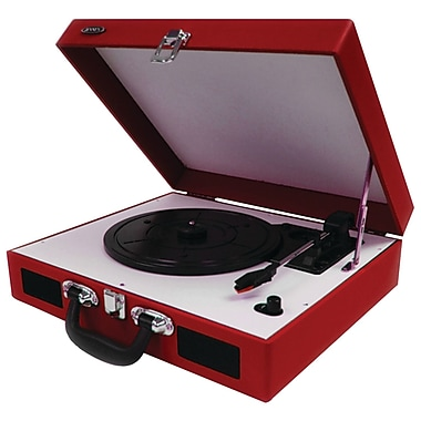 JENSEN Red Portable 3-Speed Stereo Turntable with Built-in Speakers (JENJTA410R)