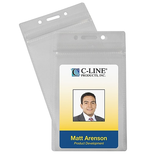 C-Line Vertical ID Badge Holder, Multicolor, 50/Pack (CLI89823)