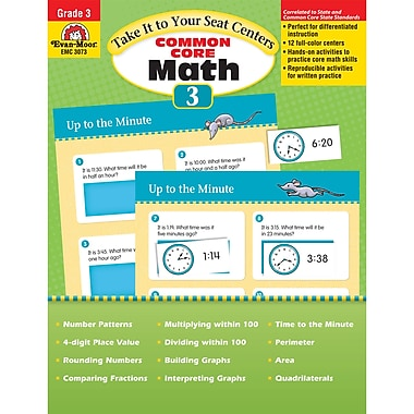Evan-Moor Take It To Your Seat: Common Core Math Centers Book, Grade 3 (EMC3073)