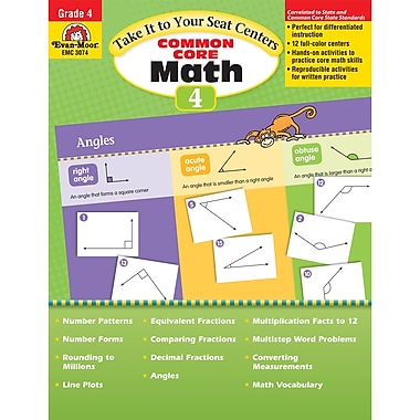 Evan-Moor® Take It To Your Seat: Common Core Math Centers Book, Grades 4