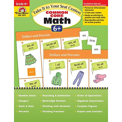 Evan-Moor® Take It To Your Seat Math Centers, Grade 6+