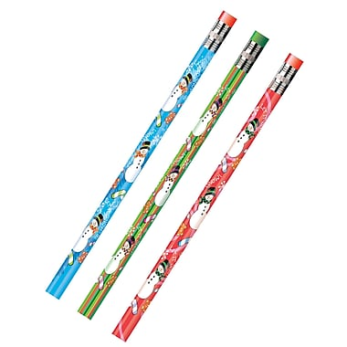 J.R. Moon Pencil Co. Holiday Snowmen Decorated Pencil, Assorted, 12/Pack