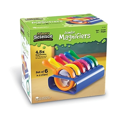 Learning Resources® Primary Science Jumbo Magnifiers, Set Of 6 In Stand