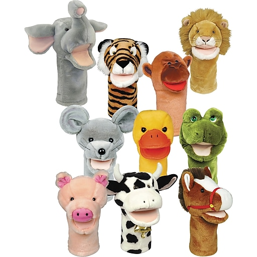 Get Ready Kids® Bigmouth Animal Puppets, Set Of 10