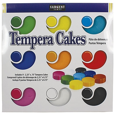 Sargent Art Non-toxic Tempera Watercolor Cakes with Palettes, 9/Pack (22-1309)