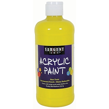 Sargent Art Non-Toxic 16 oz. Acrylic Paint, Yellow (SAR242402)
