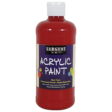 Sargent Art Non-Toxic 16 oz. Acrylic Paint, Red (SAR242420)