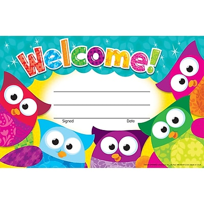 Trend® Welcome! Award, 30/Pkg (Owl-Stars!™) 30/Pkg