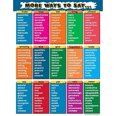 Teacher Created Resources® More Ways To Say Chart, Language Arts