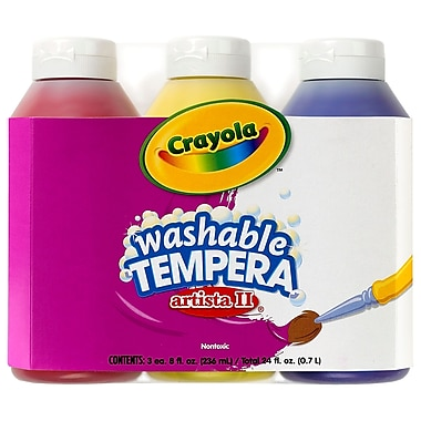 Crayola® Artista Ii® 8 Oz. 3-count Primary Colour Set Tempera Washable Paint, Blue/red/yellow