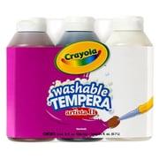 Crayola - Peinture tempéra lavable Artista Ii, 3 couleurs naturelles, noir, brun, blanc, 8 oz