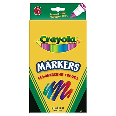 Crayola® 6 Piece Conical Tip Fluorescent Colors Marker, Assorted