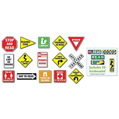 Reading Road Signs Bulletin Board Set, 51 pieces