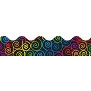 """Carson-Dellosa Publishing 1259 3' x 2.25"""" Scalloped Rainbow Swirls Border, Multicolor"""