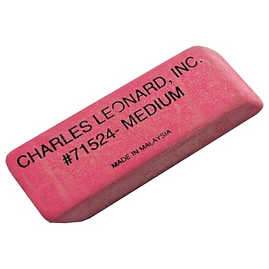 Charles Leonard Medium Natural Wedge Eraser, Pink, 48/Pack (CHL71524)