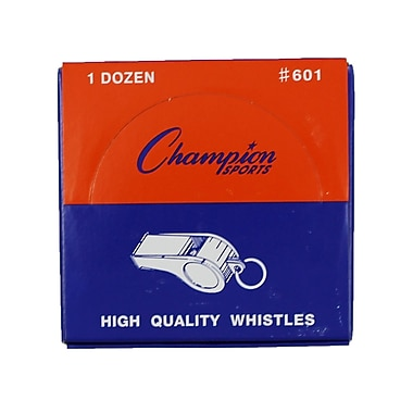 Champion Sports Medium Weight Plastic Whistles, 48/Pack (CHS601)