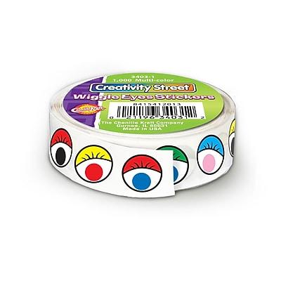 Chenille Kraft Creativity Street CK340301 Multi Wiggle Eyes Stickers, 1000/Roll