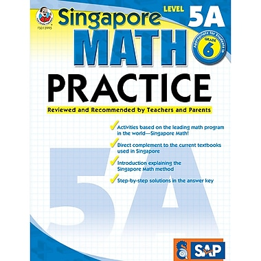 Carson Dellosa – Livre d'exercices « Singapore Math Practice » Frank Schaffer, niveau 5A, 6e année (FS-013995)