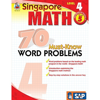 Singapore Math 70 Must-Know Word Problems Resource Book, Level 4, Grade 5