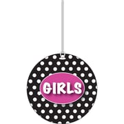Ashley White Dots on Black Girls Hall Pass, 3 3/4""