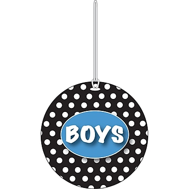 Ashley White Dots on Black Boys Hall Pass, 3 3/4