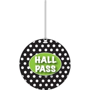 Ashley White Dots on Black Hall Pass, 3 3/4""