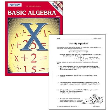 McDonald Publishing Basic Algebra Repro. Book, Grades 6 - 9