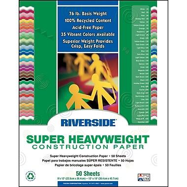 Pacon - Papier de construction Groundwood Riverside, blanc, 18 x 12 po, 50/paquet (PAC103613)