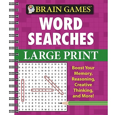 Publications International Brain Games Word Searches Large Print Activity Book, Grades 8 - 12
