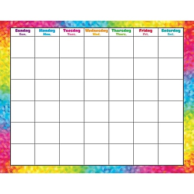 Trend Enterprises® Wipe-Off® Monthly Calendar, Colorful Brush Strokes