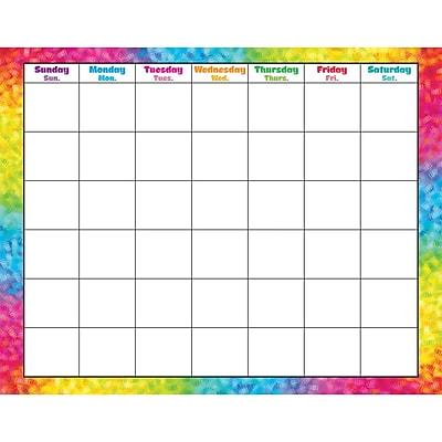 Trend Enterprises® Wipe-Off® Monthly Calendar, Colorful Brush Strokes