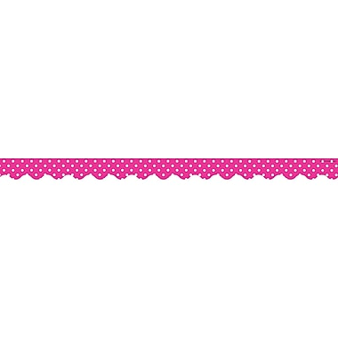 Teacher Created Resources Infant - 12th Grade Polka Dots Scalloped Border Trim, Hot Pink
