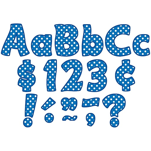 "Teacher Created Resources® Blue Polka Dots Funtastic Font 4"" Ltrs Combo Pk, 208 Pcs."