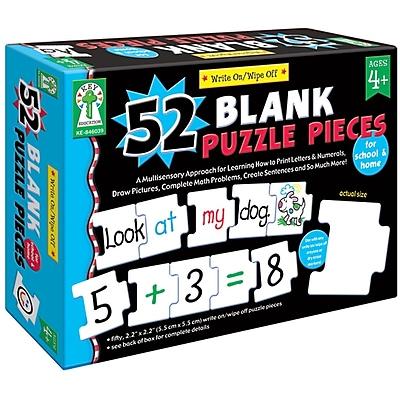 Key Education Publishing Write - On/Wipe - Off: 52 Blank Puzzle Piece Manipulative, Grades PreK - 1