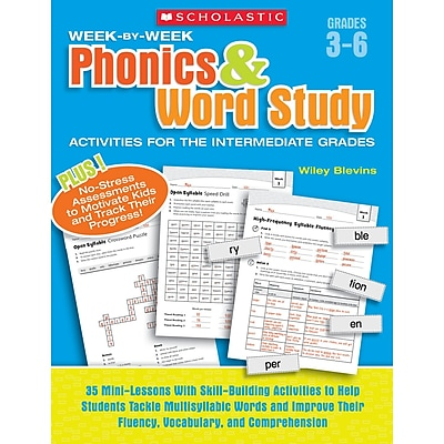 Scholastic Week-By-Week Phonics & Word Study Activities, Grades 3-6
