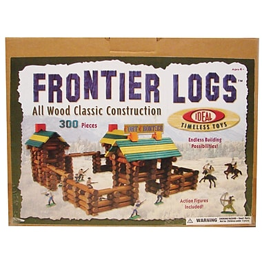 Infinitoy Ideal Timeless Toys 300 Piece Frontier Logs with 20 Piece Action Figures (SLT300L)