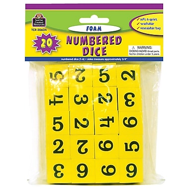 Teacher Created Resources 1-6 Foam Numbered Dice, Grade K-4, 20/Pack (TCR20604)