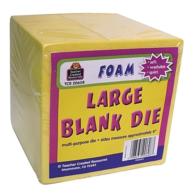 Teacher Created Resources Large Foam Blank Dice, Grade K-4, 3/Pack (TCR20608)