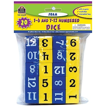 Teacher Created Resources TCR20609 Foam Numbered Dice Grades Kindergarten-4, Blue/Yellow