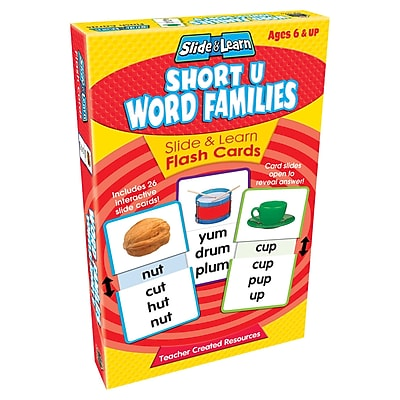Teacher Created Resources Short U Word Families Slide & Learn Flash Cards, Language Arts/Reading