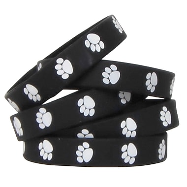 Black with White Paw Prints Wristbands
