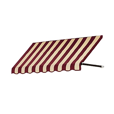 "Awntech® 5' Dallas Retro® Window/Entry Awning, 56"" x 48"", Burgundy/Tan"