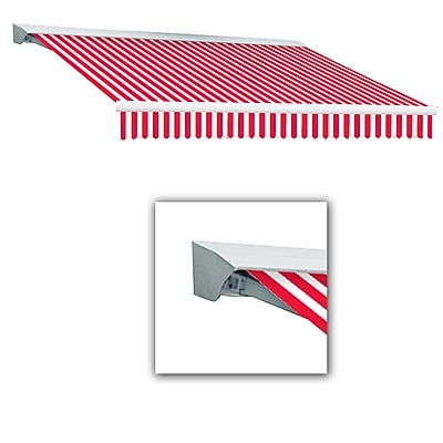 Awntech® Destin® LX Left Motor Retractable Awning, 8' x 7', Red/White