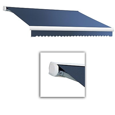 Awntech® Key West Full-Cassette Left Motor Retractable Awning, 14' x 10', Dusty Blue