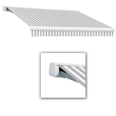 Awntech® Key West Full-Cassette Right Motor Retractable Awning, 16' x 10', Gray/White